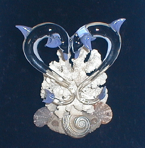 Hand Blown Glass Cake Top W Dolphins In Heart Shape From Key West