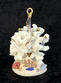 Blown Glass Anchor on artificial coral, from Key West