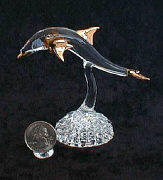 Handblown glass Dolphin w/22kt gold accents, from Key West