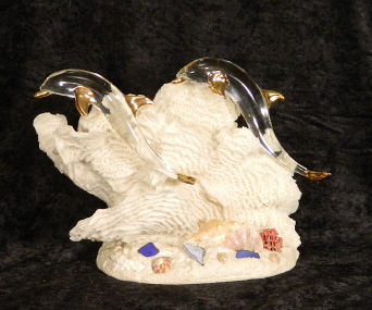 Hand Blown Glass Dolphins and Anchor w/22kt gold accents, from Key West