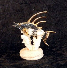 Hand Blown glass Hog fish  w/22kt gold accents, from Key West