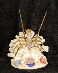 Hand Blown glass Lobster w/22 kt gold accents, from Key West