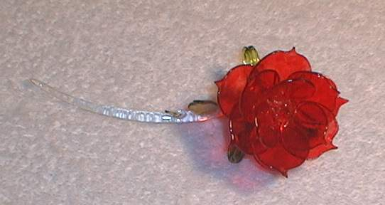 Blown glass red rose, from Key West