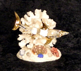 Hand Blown glass Shark w/22kt gold accents, from Key West