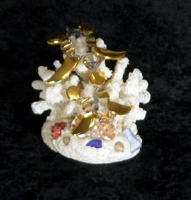 Hand Blown glass mother w/baby Turtle w/22kt gold accents, from Key West