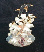 Hand Blown Glass Double Dolphins w/22kt gold accents, from Key West