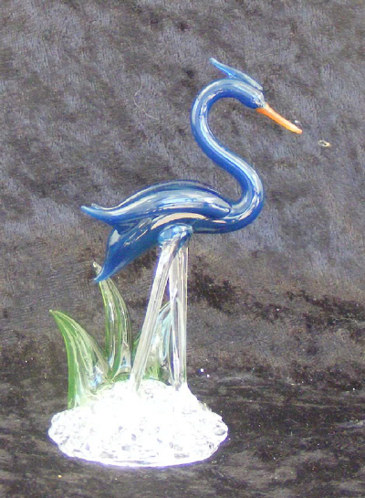 Hand Blown Glass Blue Heron
