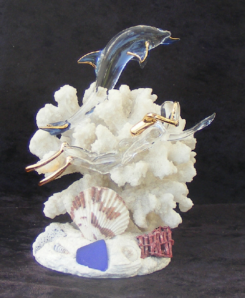 Hand Blown Glass Nautical Dive r/ Dolphin  on Coral with 22kt Gold accents