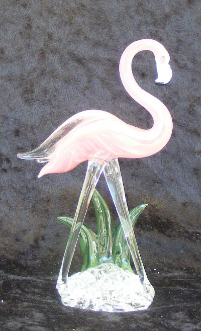 Hand Blown Glass Pink Flamingo