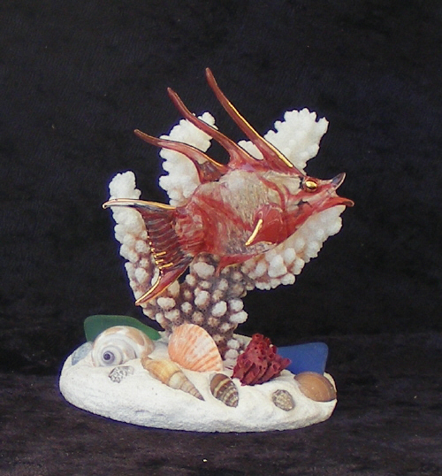 Hand Blown Glass Hogfish on Coral with 22kt Gold accents