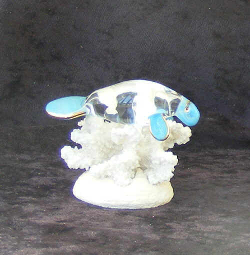 Hand Blown Glass Manatee  on Coral with 22kt Gold accents