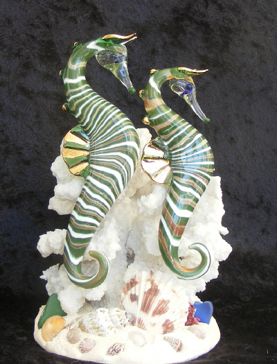 Hand Blown Glass Nautical Seahorses  on Coral with 22kt Gold accents