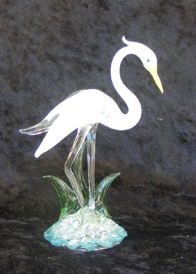 Hand Blown Glass White Heron