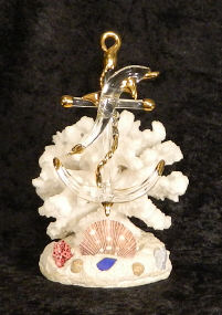 Blown Glass Anchor and Dolphin on artificial coral, from Key West