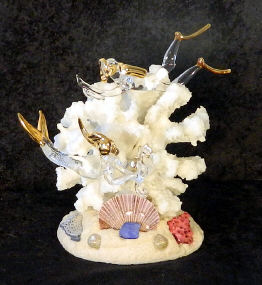 Hand Blown glass cake top diver and Mermaid  w/22kt gold fired to the glass, from Key West